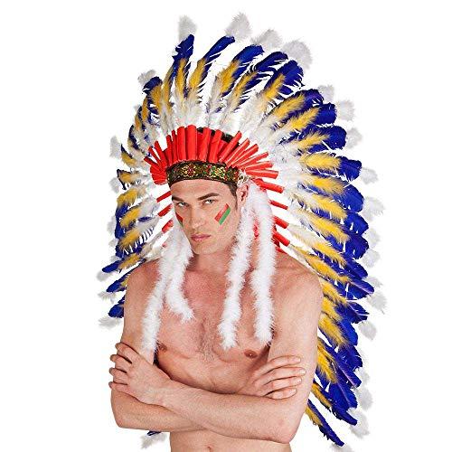 Boland 44131 - Indianer-Kopfschmuck, für Erwachsene, Häuptling, Federschmuck, Wilder Westen, Kostüm, Karneval, Mottoparty
