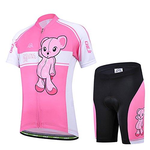 LSHEL Maillot de Cilismo para Niños y Niñas,Conjunto de Camiseta Ciclismo de Bicicleta + Pantalones Cortos Ciclismo