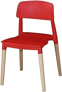 WHOJA Sillas de Comedor Silla de cocina Simplicidad moderna Respaldo de arco Marco de madera maciza Fuerte capacidad de carga 5 colores 48x48x75cm Sillas de esquina (Color : Red)