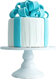 White Cupcake Stand, Botitu 6 inch Decorative Cake Stand with Pedestal for Birthday, Wedding Party Dessert Stand, for Displaying Crackers, Macrons, Brownies and Muffins Serving Stand(4.3 inch tall)