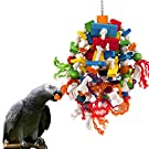 MEWTOGO Large and Small Parrot Toy - Multicolored Wooden Blocks Tearing Toys for Birds Suggested for African Grey Cockatoos, and a Variety of Amazon Parrots