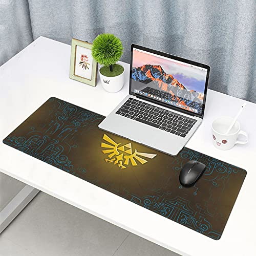 The Legend of Zelda Princess Twilight Logo Gaming Mouse Pad, Big Computer Keyboard Mouse Mat Desk Pad with Non-Slip Base and Stitched Edge for Home Office Gaming Work