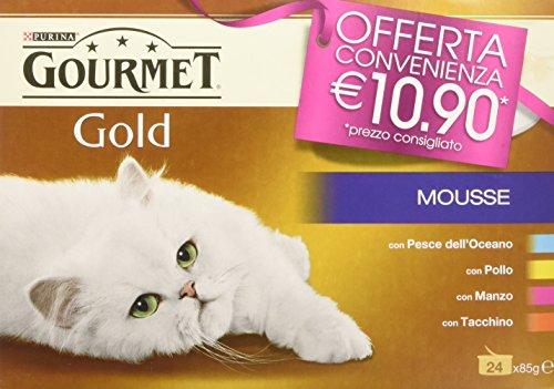 Gourmet Gold Mousse Manzo/Pollo/Pesce/Tacc [1 confezione da 24 lattine x 85 gr]