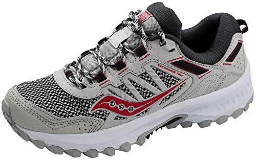Saucony Women's Versafoam Excursion Tr13 Road Running Shoe, Grey/Black/Burgundy, 8.5 M US