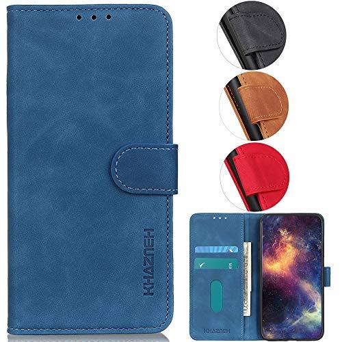 YOUKIT Motorola Moto Z4 Handy-Schutzhülle, luxuriös, Vintage, matt, weiches Leder, Flip-Ständer, Schutzhülle mit Kartenfach & Geldfach für Moto Z4 (blau, Motorola Moto Z4, Moto Z4)
