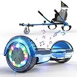 HITWAY Hoverboard Autobilanciato Scooter Elettrico da 6,5 Pollici, Hoverboard Elettrico Scooter con Hoverkart Go-Kart Costruito in luci a LED Bluetooth Speaker, Regalo di Natale per Bambini