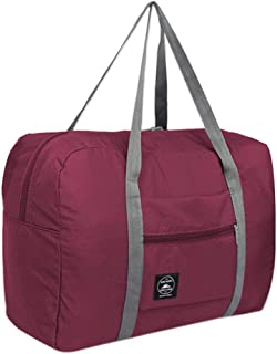 For Spirit Airlines Foldable Travel Duffle Bag Tote Carry on Luggage Sports Gym Water Resistant Nylon (Wine)