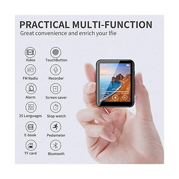 MP3 Player Bluetooth 5.0 Touch Screen Music Player 16GB Portable mp3 Player with Speakers high Fidelity Lossless Sound Quality mp3 FM Radio Recording e-Book 1.8 inch Screen MP3 Player Support (128GB) 5