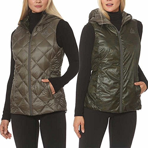Gerry Womens Reversible Packable Down Filled Hooded Vest, Brown/Camo, Medium