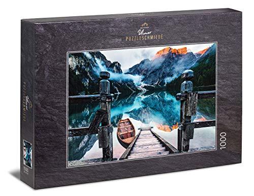 Ulmer Puzzleschmiede - Puzzle Lago di Braies - Puzzle 1000 Pezzi - Il Lago di Braies di Sera, di Fronte al Seekofel nelle Dolomiti, in Alto Adige