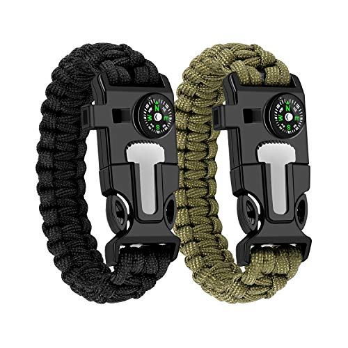 WUQID Paracord Survival Bracelet Loud Whistle Emergency Compass Survival Fire Starter Knife Accessories for Hiking, Camping, Fishing and Hunting (2 Pack)(Black + Army)