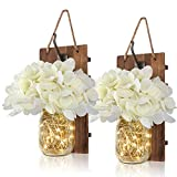 Anpro Rustic Wall Sconces - Mason Jars Sconce, Rustic Home Decor,Wrought Iron Hooks, Silk Hydrangea and LED Strip Lights Design Home Decoration (Set of 2)