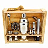 DIIBRA Cocktail-Wizard 2.0 – 700 ml Cocktailshaker - Geschenk für Männer - 16-teiliges Bar Werkzeug Set mit rustikalem Holzständer