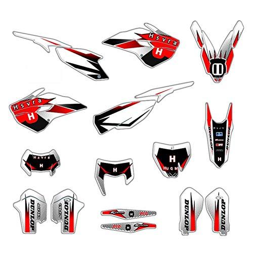 Bicicleta Motocross Pegatinas de Kit de calcomanías de Etiqueta Motocicleta para Husqvarna 125 250 300 350 450 501 TE FE 2014-2016 TC FC 2014-2015 (Color : Blank)