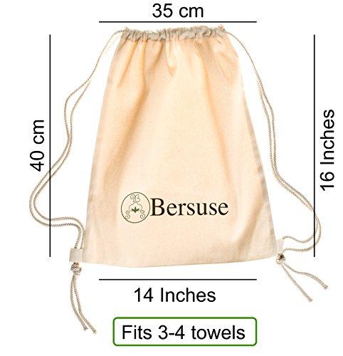 Bersuse 100% Algodón - Daytona Mochila con cordón - Durable Canvas Tote Pack Daypack - Bolsa de Deporte para Hombres y Mujeres School Travel - Unisex ecológico - 35X40 Pulgadas, Natural