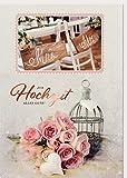 A4 XXL Hochzeitskarte Mrs & Mr Romantische Rosen in Rosa