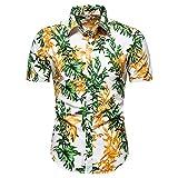 YUTING Camisa de verano de manga corta para hombre, estilo informal, estampada, corte ajustado, camiseta de manga corta C_blanco L