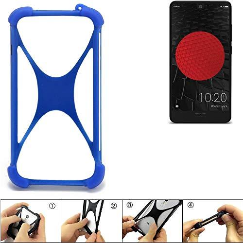 K-S-Trade® Handyhülle Für Sharp Aquos C10 Silikon Schutz Hülle Cover Case Bumper Silikoncase TPU Softcase Schutzhülle Smartphone Stoßschutz, Blau (1x),