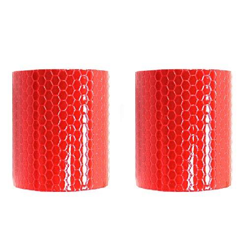BigTron Cinta adhesiva reflectante de alta calidad, 2 rollos, 5 cm x 3 m, color rojo