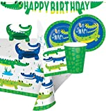 Alligator Party Supplies and Decorations - Alligator Party Plates and Napkins Cups for 16 People - Includes Alligator Birthday Banner, Tablecloth and Centerpiece - Perfect Crocodile Birthday Party Decorations and Crocodile Birthday Party Supplies!