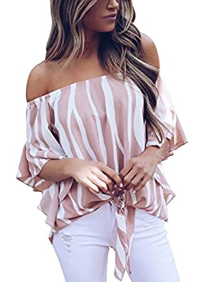 Asvivid Womens Summer Striped Printed Off The Shoulder Tops 3 4 Flared Bell Sleeve Blouses Casual Tie Knot Ladies T-Shirt M Pink by