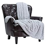 Chanasya Fuzzy Soft Cloud Textured Embossed Faux Fur Throw Blanket - Plush Sherpa Solid Cozy Blanket for Bed Sofa Chair Couch Cover Living Bed Room (50x65 Inches) Silver Blanket