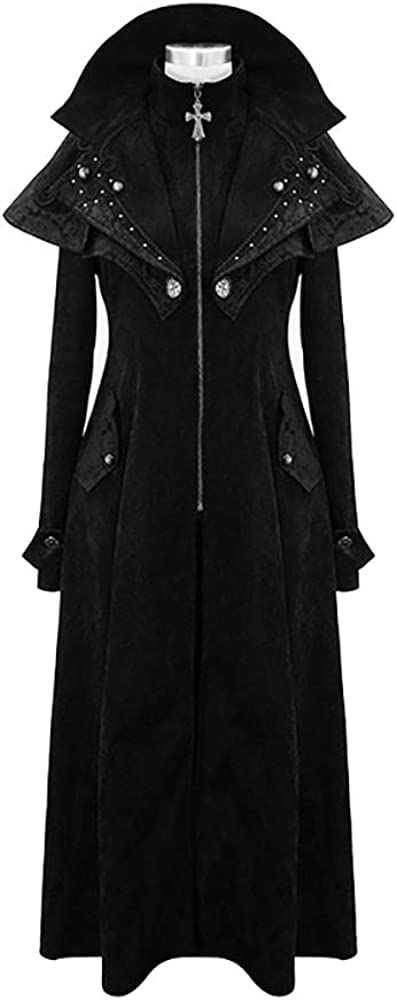 Devil fashion Black Trench Surprise price High quality new Coat Steampunk Women Hooded Long Pea