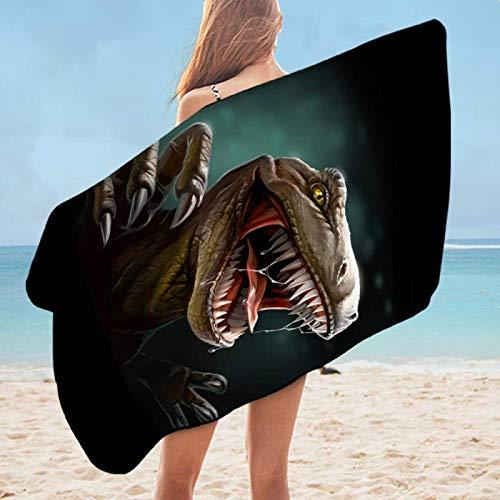 Toalla de baño de dinosaurio Jurásico Toalla de ducha para niños 3D Animal Impreso Yoga Mat Tiranosaurio toalla 75x150cm