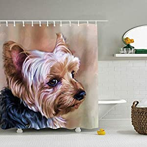 Mweet Yorkie Dog Printed Waterproof Shower Curtain Liners 71 X 71 inch Bathroom Curtains
