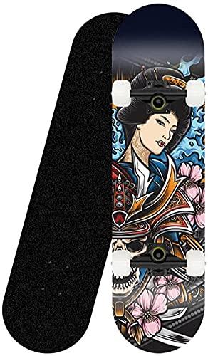 Skateboard 31 Tablero Completo para Principiantes y Profesionales Plataforma cóncava de Arce de 8 Capas ABEC-7 Rodamientos de Bolas para Adolescentes y Adultos-Patineta
