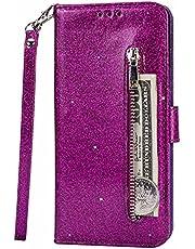 Lijc Compatible con Funda Samsung Galaxy S10 Lite/A91 Brillantina Cremallera PU Cuero Wallet con Soporte Plegabley Ranura para Tarjetas Cierre Magnético Funda Abatible Antigolpes-Púrpura