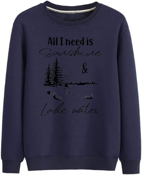 NJkndme Pullover All I Need is Sunshine Lake Water Retro Pullover Leisure Men (Color : A04, Size : Small)