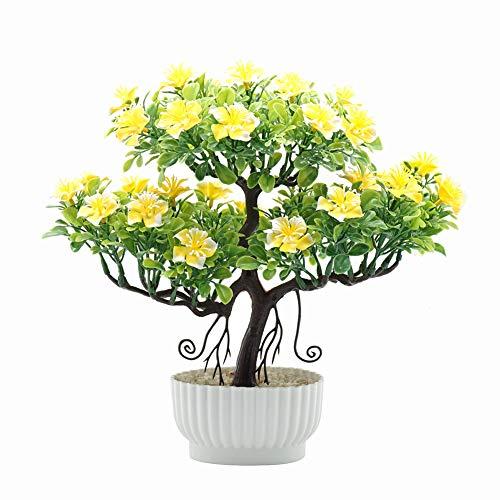 NAttnJf 1 Unid Árbol de Flores Artificiales Bonsai En Maceta Oficina en Casa Hotel Jardín Decoración de la Fiesta de Escritorio Yellow