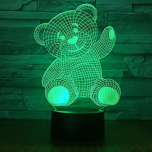 Netter Teddybär Lampe 3D Illusion 7 Farben Touch-schalter USB Einsatz LED-Licht Tischlampe Kinder Nachttischlampe Weihnachtsgeschenk Geburtstagsgeschenk