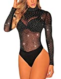 SEBOWEL Damen Sexy Strass Mesh Body Club Party Langarm Bodysuit Bluse Tops, Schwarzer Diamant, L