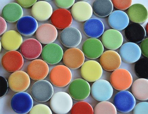 104g ca. 30 St. Mosaiksteine rund Buntmix aus Keramik Durchmesser ca.2 cm