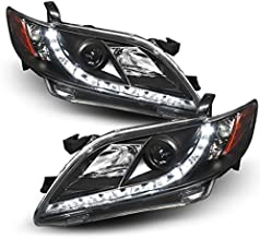 For Toyota Camry Black Bezel DRL Daylight LED Strip Projector Headlights Front Lamp Left + Right Pair