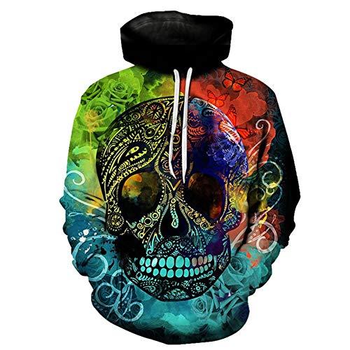 Hcxbb-16 Crâne HEADR Hommes Sweat-Shirts - 3D Imprimé Hip HOP Sweats Vestes Nouveauté Streetwear Capuche Automne Mlae Survêtements à Capuche (Color : A, Size : 3XL)