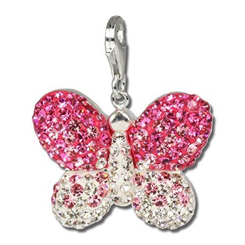 SilberDream Glitzer Charm Schmetterling rosa Swarovski Kristalle ICE Anhänger 925 Silber für Bettelarmbänder Kette Ohrring GSC003