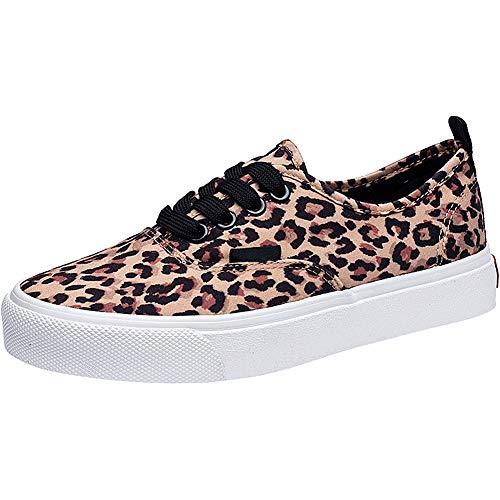 Wealsex Zapatos de Lona Mujer con Cordones Zapatillas Bajos para Mujer (Amarillo Leopardo,39)