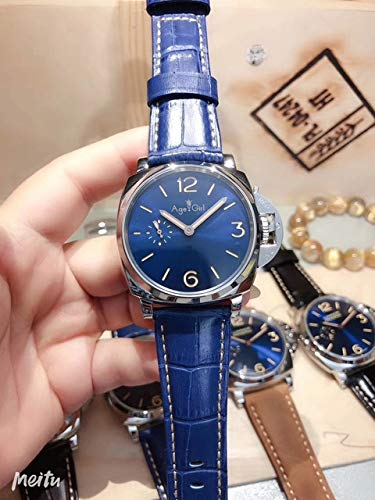 HHBB Marca de lujo mujeres plata negro cuero automático mecánico zafiro acero inoxidable esfera azul deporte debido relojes Aaa+ azul cuero