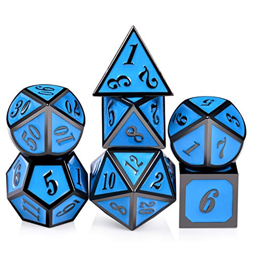 Blue D&D Metal Dice, 7PCS Polyhedral Dice with Metal Tin for DND Table Games Roll Palying Game