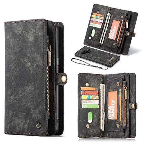 Funda para Samsung Galaxy Note 9 Multifuncional de piel con cremallera y cierre magnético desmontable (con 11 ranuras para tarjetas) Funda de TPU + PC (color: negro)