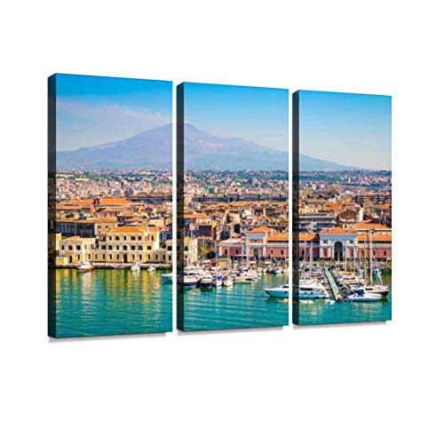 BELISIIS Catania Sicily, Italy harbours and Pictures Wall Artwork Exclusive Photography Vintage Abstract Paintings Print on Canvas Home Decor Wall Art 3 Panels Framed Ready to Hang