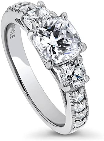 BERRICLE Valentines Day Gift Rhodium Plated Sterling Silver Cushion Cut Cubic Zirconia CZ 3 product image