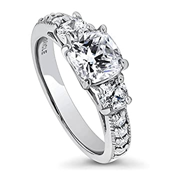 BERRICLE Rhodium Plated Sterling Silver Cushion Cut Cubic Zirconia CZ 3-Stone Anniversary Promise Wedding Engagement Ring 2.3 CTW Size 9