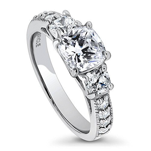 BERRICLE Rhodium Plated Sterling Silver Cushion Cut Cubic Zirconia CZ 3-Stone Anniversary Promise Engagement Ring 2.3 CTW Size 7.5