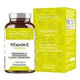 vitamina e pura massimo assorbimento naturale | protezione antiossidante delle cellule con 8 molecole di tocoferoli e tocotrienoli | 60 capsule softgel nutralie