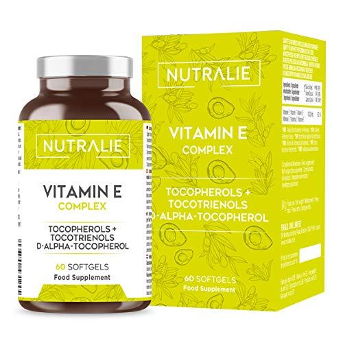 Vitamina E Máxima Absorción Natural   Antioxidante Protección Células 8 Moléculas de Tocoferoles y Tocotrienoles   60 Cápsulas Blandas Nutralie