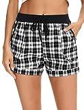 Aibrou Pantalones Algodón Cortas de Pijama Verano para Mujer, Pantalon Pijama Corto de Mujer con Bolsillos Pantalones Deportivos para Mujer de Verano,Negro,S